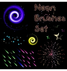 Set of neon brushes vector image vector image