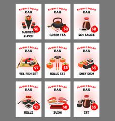 sushi menu card for japanese cuisine restaurant vector image