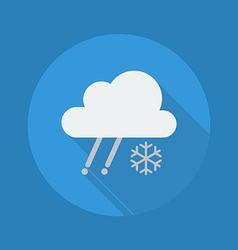 Weather Flat Icon Rainy With Snow vector image vector image