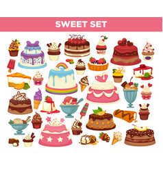 Cakes and cupcakes pastry desserts set vector
