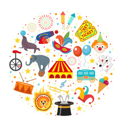 Circus icon set in round shape flat cartoon style vector