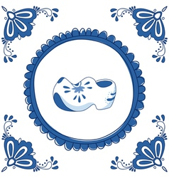 Delft Blue clogs vector image vector image