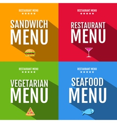 Flat restaurant menu typography design vector