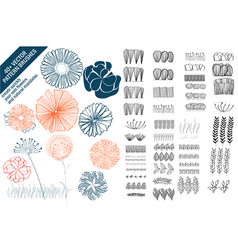 Floral pattern brushes with hand drawn colorful vector