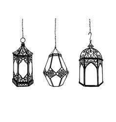 set of hand drawn arabic lanterns vector image vector image