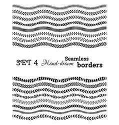 set of hand-drawn seamless borders vector image