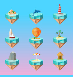 tropical island symbols polygonal icons set vector image