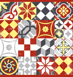 Vintage patchwork seamless pattern mosaic tile vector image vector image