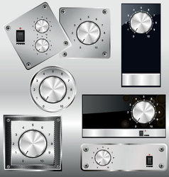 volume knob with calibration on metal plate vector image vector image