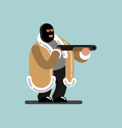 big robber in mask is ready to shoot vector image vector image