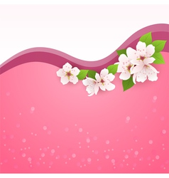 card with cherry flowers vector image