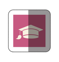 color sticker square with graduation hat icon vector image vector image