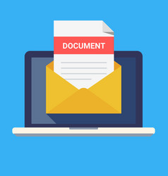 laptop and envelope with document email with vector image vector image