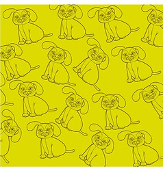 pattern of dog silhouettes isolated on green backg vector image vector image