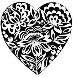 silhouette of the heart and flowers on it Black-an vector image vector image
