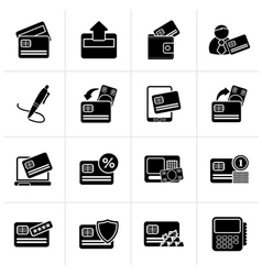 Black credit card POS terminal and ATM icons vector image vector image