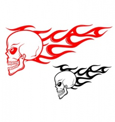danger skull with flames vector image