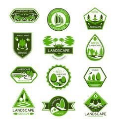 landscape design badge set of park and garden tree vector image vector image