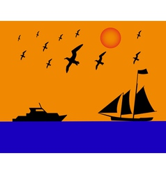 sailing boat albatrosses to orange blue background vector image