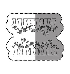 silhouette together hands up icon vector image