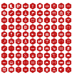 100 fence icons hexagon red vector