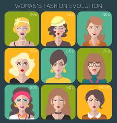 100 years beauty female fashion evolution vector