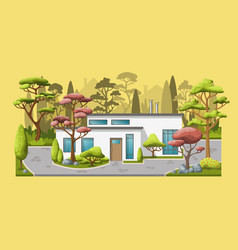 A modern family house with trees vector
