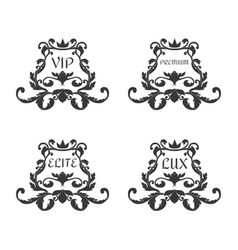 a set of four ornaments in the victorian style vector image
