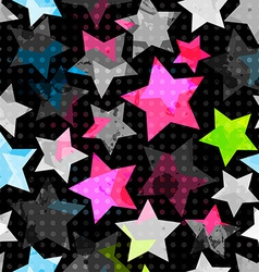 abstract grunge stars seamless vector image