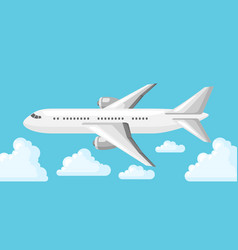 Airplane on blue sky and clouds vector