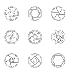 Aperture of camera icons set outline style vector