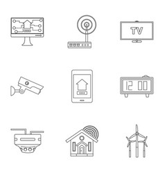 Automation technology icon set outline style vector