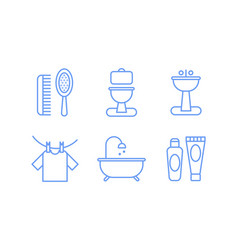 bathroom icons set hygiene body care linear vector image