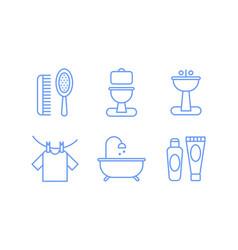 Bathroom icons set hygiene body care linear vector