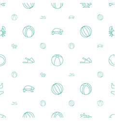 Beach icons pattern seamless white background vector