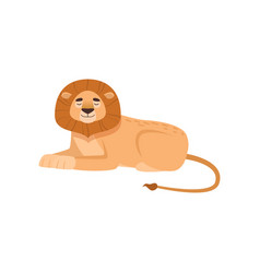 Benignant lion lying in the royal pose with closed vector