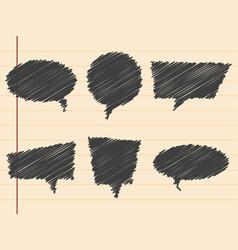 black hand drawn speech bubblesset vector image