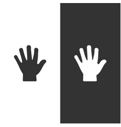 body senses tact hand icon on black and white vector image