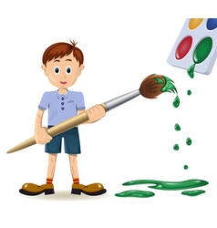 Boy and paintbrush vector
