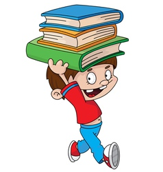 Boy with books vector
