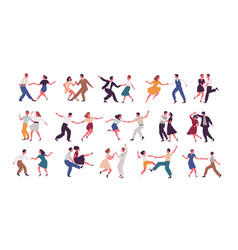 Bundle of pairs of dancers isolated on white vector