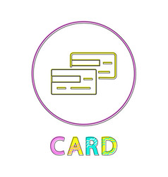 card payment method lineout style framed icon vector image