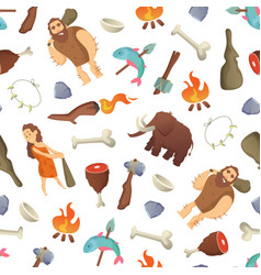 Cartoon cavemen background or pattern vector