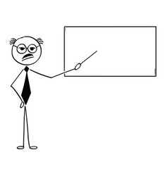 cartoon of old business man or teacher or vector image