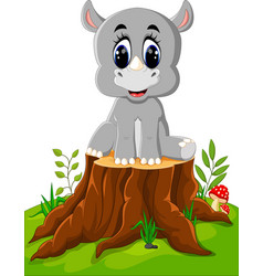 cartoon rhino sitting on tree stump vector image