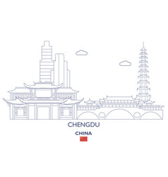 Chengdu city skyline vector