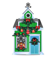 christmas gift in the form of rustic wooden house vector image