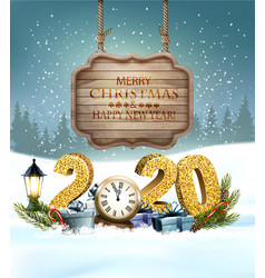 christmas holiday background with 2020 vector image
