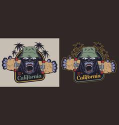 Colorful skateboarding vintage label vector