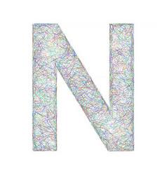 Colorful sketch font design - letter n vector